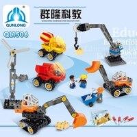 Grande cidade engenharia técnica máquina blocos de construção compatível duplo grandes tijolos iluminar blocos brinquedo para crianças presentes do menino