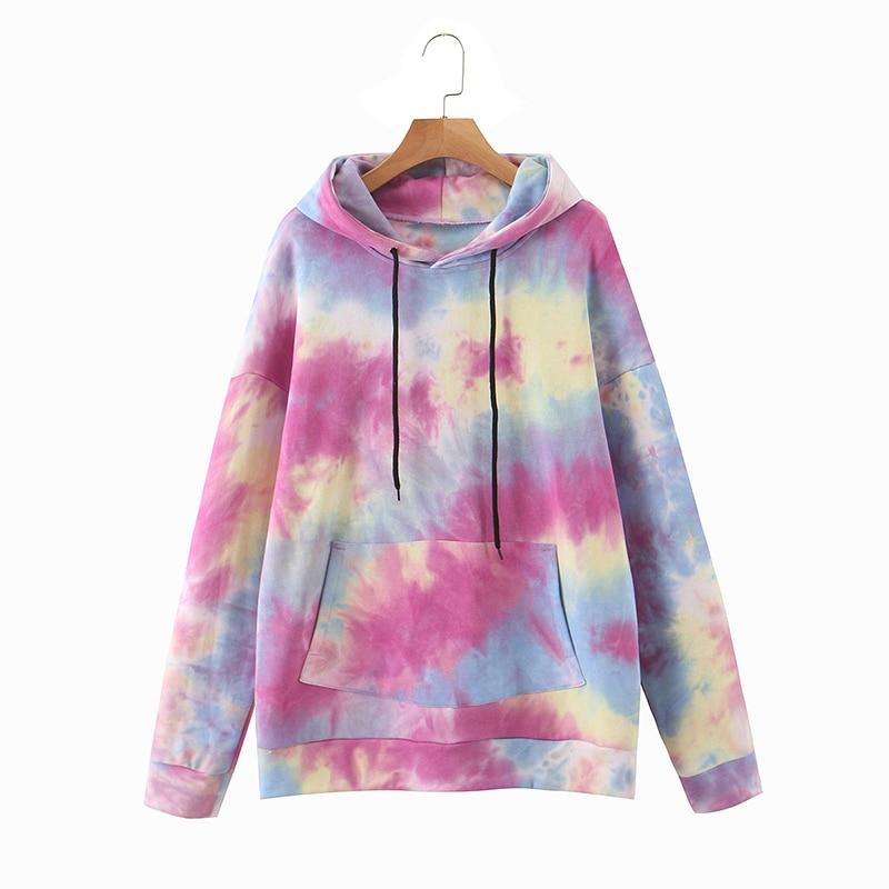 Wixra Womens Tie-dye Sweatshirts Femme New Fashion Hot Hoodies Pocket Long Sleeve Autumn Winter Casual Streetwear Tops 5