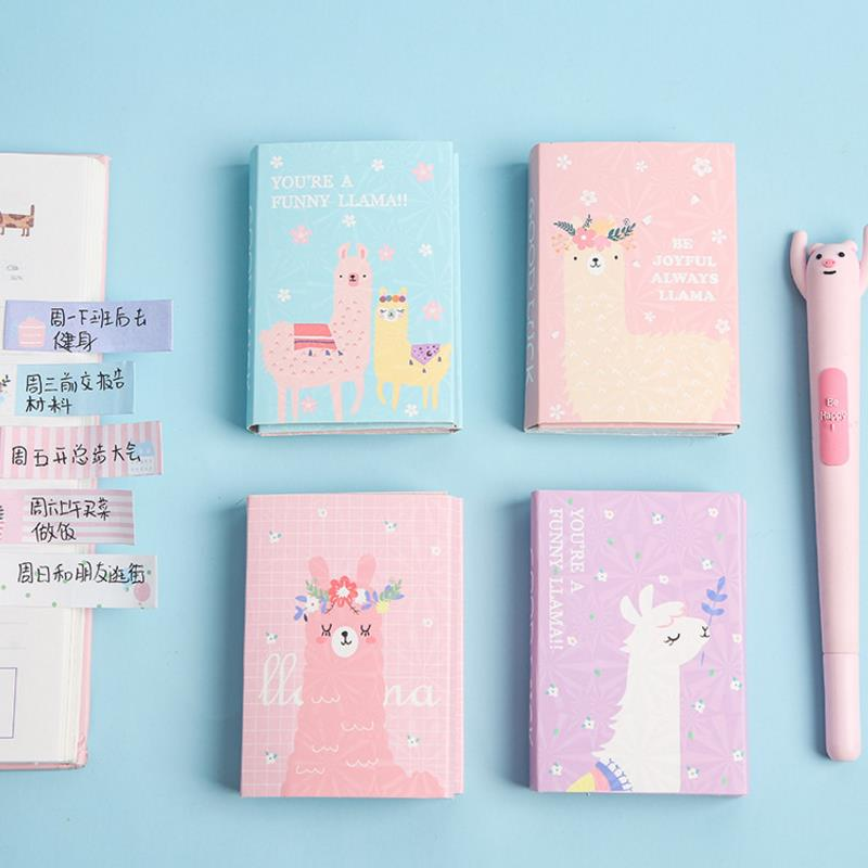 1pc Hot Sale Lovely Colorful Cute Alpaca Memo Pad Sticky Notes Memo Notebook Stationery School Supplies Gift