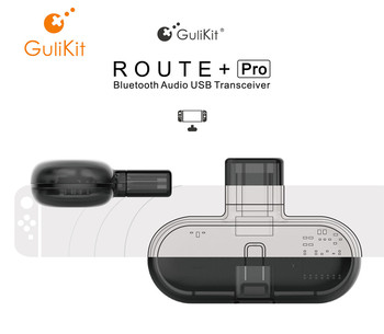 GuliKit Route+ Pro Bluetooch Wireless Audio USB Receiver or Transmitter with Audio for Nintendo Switch gulikit ns07 usb c route air bluetooth wireless audio adapter or type c transmitter for the nintendo switch switch lite ps4 pc