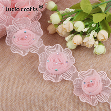 Lucia Crafts 1yard/lot  3D Flower Lace Trim Knitting Wedding Embroidered Patchwork  DIY  Handmade Ribbon Sewing  Crafts R0710