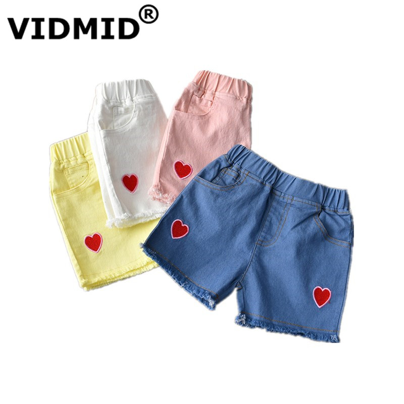 VIDMID Baby Girls Cotton Shorts Clothes Kids Jeans Shorts Trousers Hearts Children's Clothing Trousers Boys Girls Shorts 7056