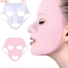 Masque facial en silicone réutilisable pour le visage, outil de soin de la peau qui évite aux huiles de s'évaporer, fixé aux oreilles, feuille,