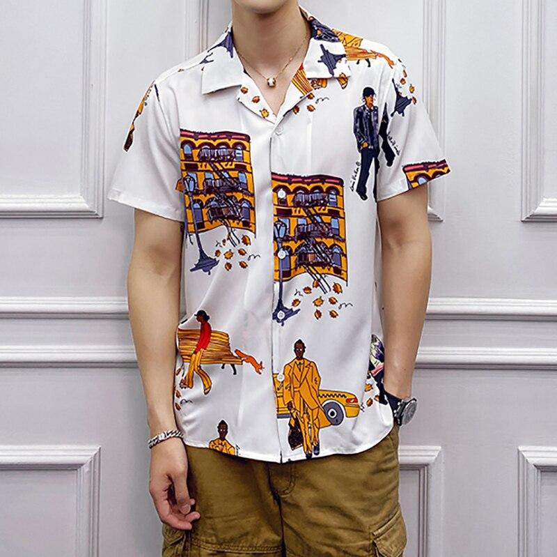 High Quality Men Shirt Short Sleeve Fashion 2020 New Digital Print Mens Casual Flower Shirts Slim Fit Man Blouse Men Clothes 3XL