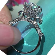 Real Solid 925 Sterling Silver Rings for Women unique design Flower 6ct Diamond Engagement Wedding Ring Fine gemstone Jewelry