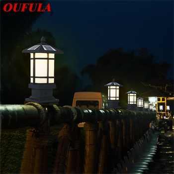 OUFULA Patio LED pillar lighting Solar Waterproof Modern Outdoor Post Light Fixture For Porch Balcony Courtyard Villa - DISCOUNT ITEM  32 OFF All Category