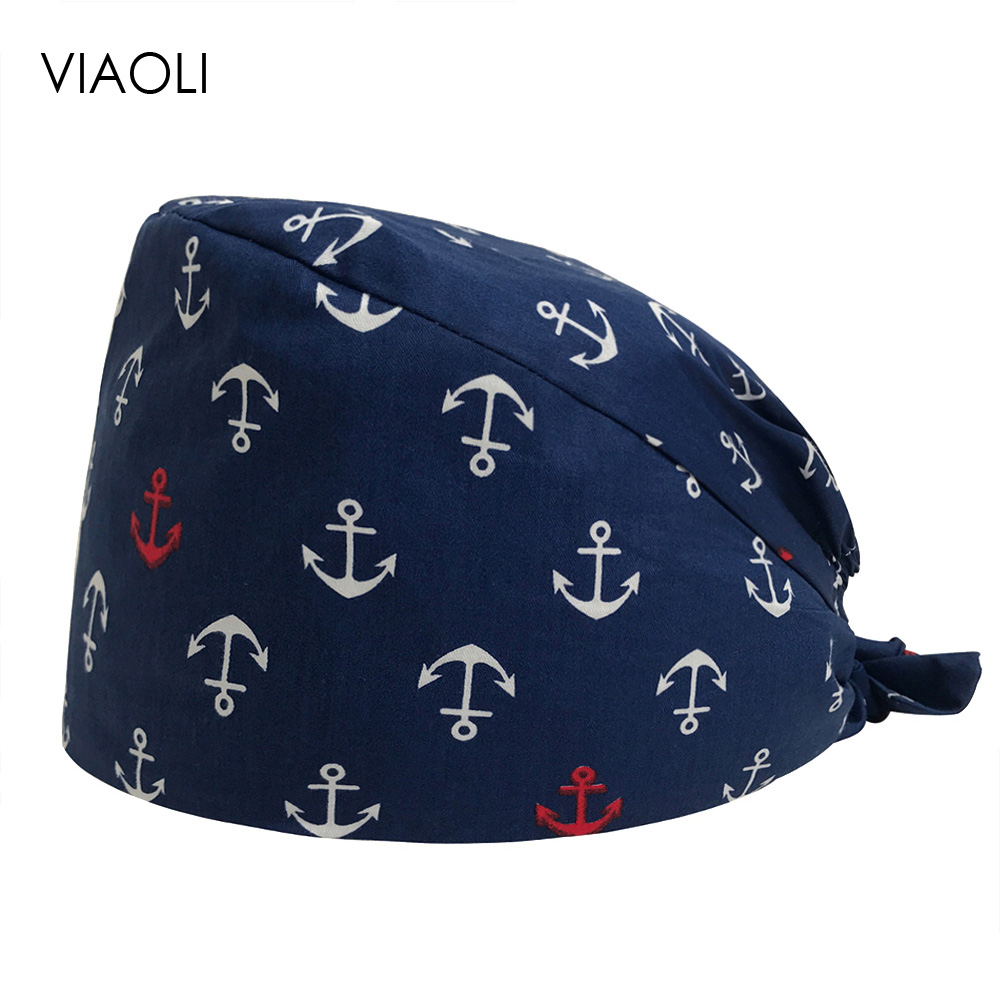 Viaoli Male Female Doctor Scrubs Pharmacy Work Cap Surgery Nurse Hat Oral Cavity Dental Clinic Pet Surgical Cap Women Scrubs 47