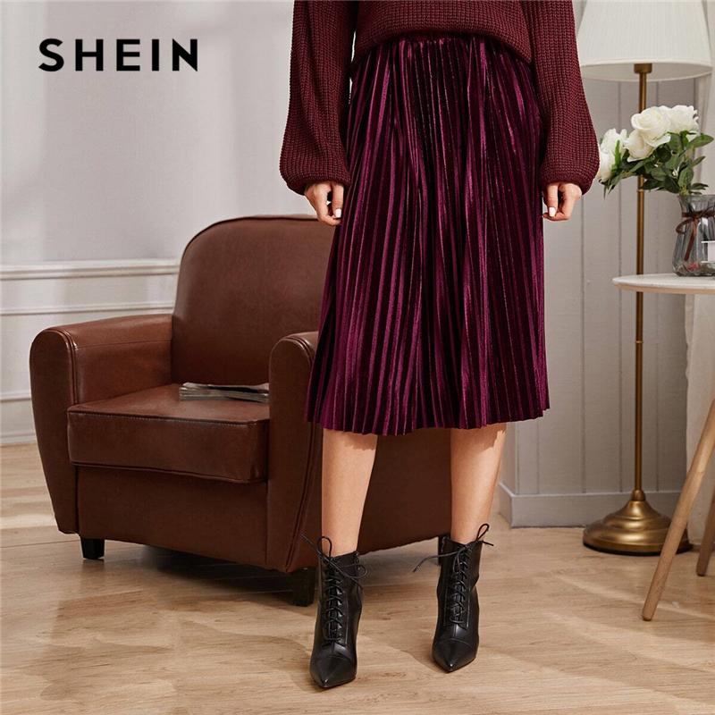 SHEIN Solid Pleated Velvet Glamorous Skirt Womens Bottoms Winter Streetwear High Waist Autumn Elegant Ladies Basic Midi Skirts 1