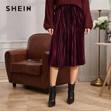 SHEIN Effen Geplooide Fluwelen Glamorous Rok Womens Bodems Winter Streetwear Hoge Taille Herfst Elegante Dames Basic Midi Rokken