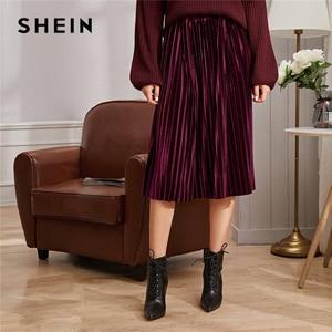 Image 1 - SHEIN однотонная плиссированная бархатная Гламурная юбка женская нижняя часть зимняя уличная Высокая талия Осенняя Элегантная Дамская базовая юбка миди