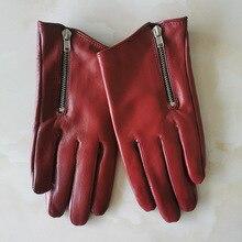 Saf koyun derisi hakiki deri kadın eldiven kısa stil kırmızı fermuar avrupa versiyonu fransız Elegance bayan eldivenler TB84