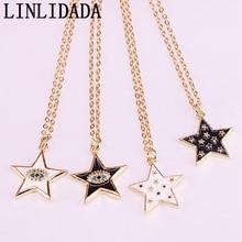 12Pcs Black /White color enamel Charm Star Shape pendant necklace women Jewelry