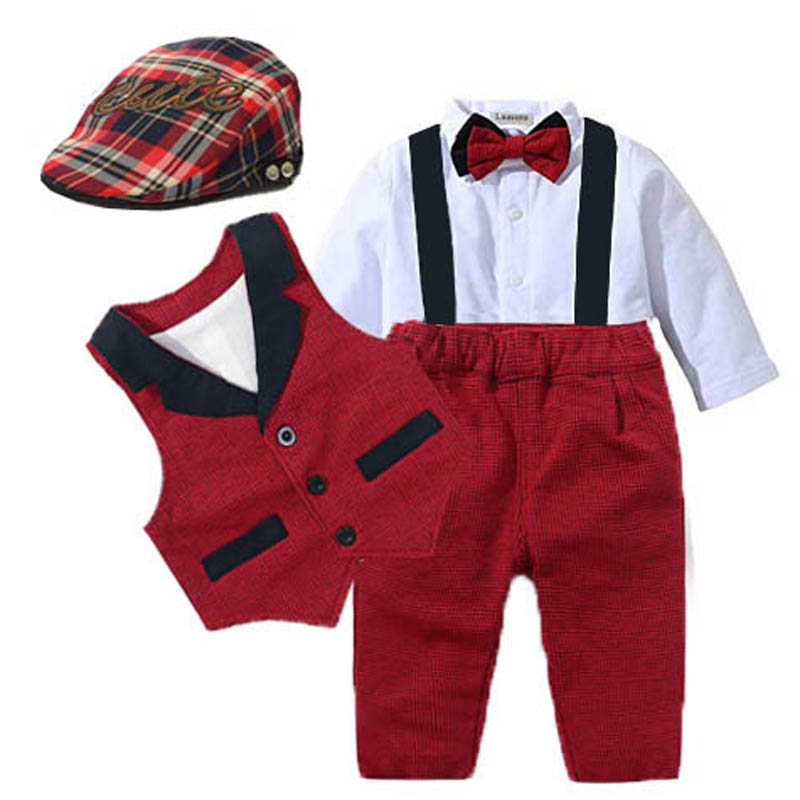 Baby Suits Newborn Boy Clothes Romper + Vest + Hat Formal Clothing Outfit Party Bow Tie Children Birthday Dress New Born 0  24 M