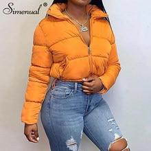 Simenual-abrigos cálidos para mujer, chaquetas de manga larga a la moda con cremallera, prendas de vestir de pan informales gruesas y sólidas, otoño e invierno, 2021