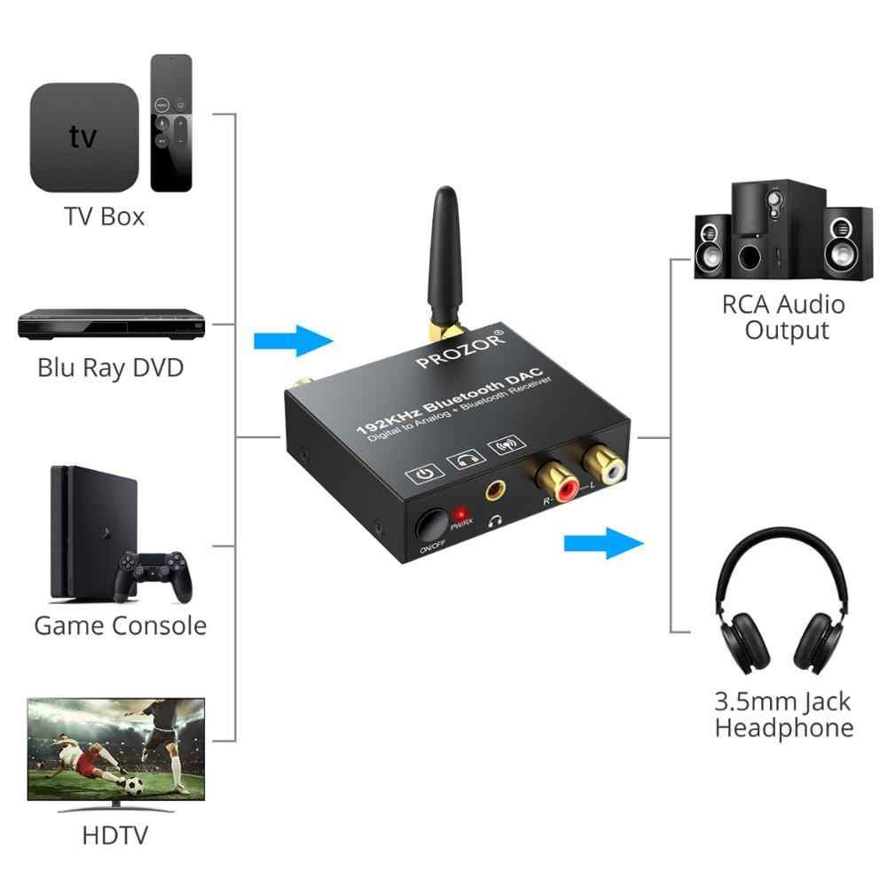 ESYNiC 192kHz DAC dijital Analog ses dönüştürücü ile Bluetooth 5.0 alıcı RCA 3.5mm ses adaptör desteği güç açma/kapalı