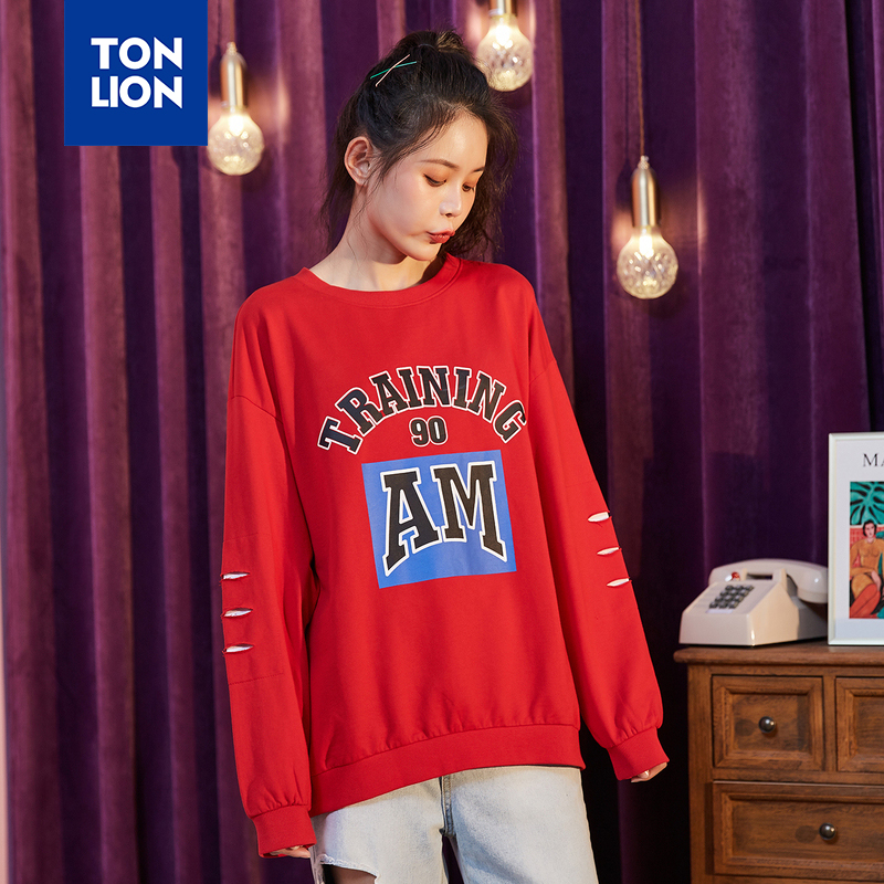 TONLION Letter Print Women's Hoodies Woman Sweatshirts Loose Style Clothes Spring New Arrival Fashion Student Coat No Hat 2020