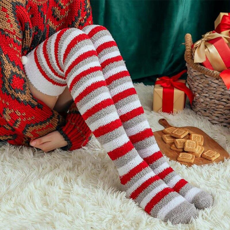 Calcetines largos a rayas para mujer, medias altas hasta el muslo para fiesta de Navidad, suaves, cálidas, gruesas, frías, para invierno, por encima de la rodilla