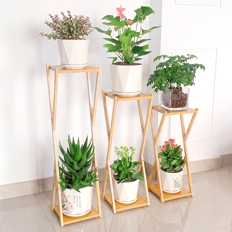 Balcony Decorate Flowerpot Shelves Solid Wood Multi-storey Household Province Space