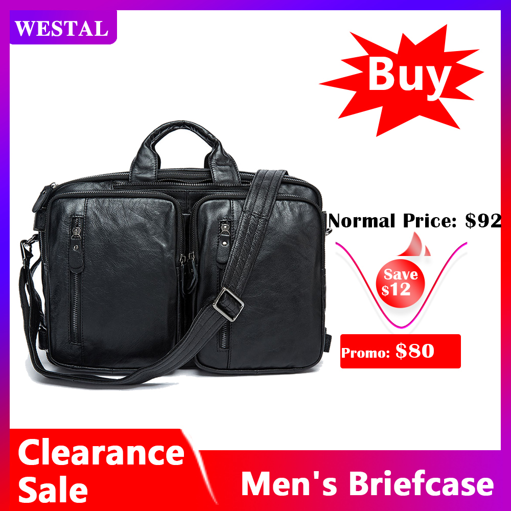 WESTAL Clearance Men's Briefcase Bag Men's Genuine Leather Office Bags For Men Laptop Bag Leather Briefcases Men Computer Bags