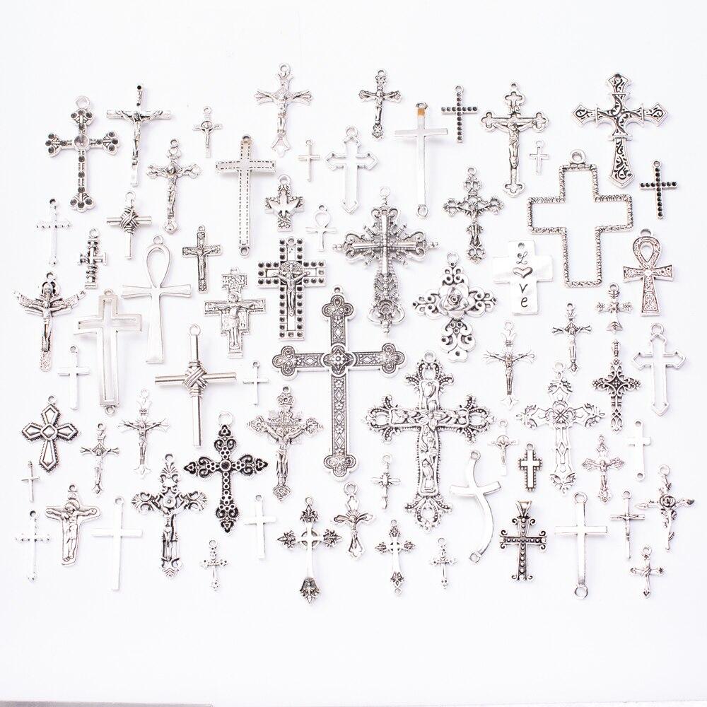 Горячая Распродажа 70 шт. тибетских Серебряно-цинковых сплавов крест металлические бусины подвеска ювелирные изделия аксессуары