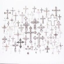 Venda quente 70 pces tipos de tibetano prata-liga de zinco cruz contas de metal pingente jóias fazendo acessórios