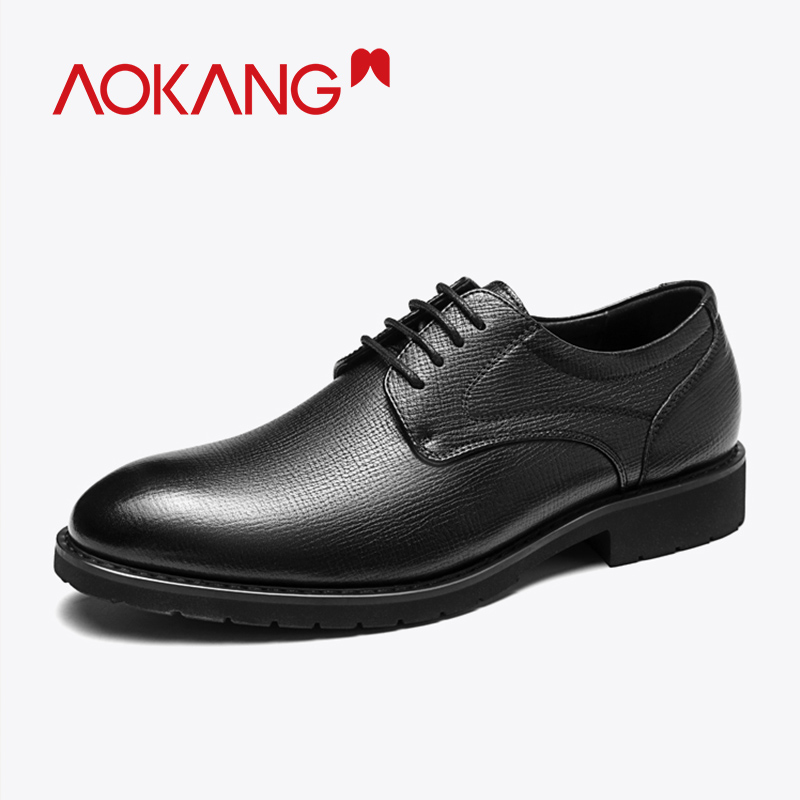 Aokang 2020 Spring Men Dress Shoes Genuine Leahter High Quality Derby Shoes Lace Up Breathable Formal Shoes Man New Arrival Shoe