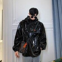 Los hombres otoño nueva Sudadera con capucha abrigo chaqueta de cuero Hombre Streetwear Hip Hop Casual negro brillante chaqueta de cuero prendas de vestir exteriores