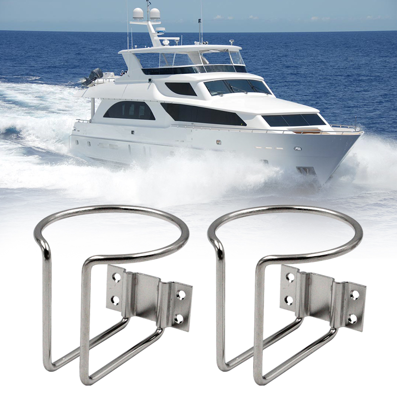 2pcs Stainless Steel Boat Ring Cup Drink Holder Suitable For Boat/ Yacht/ Truck/ Car/ Apartment/ RV 88*76mm