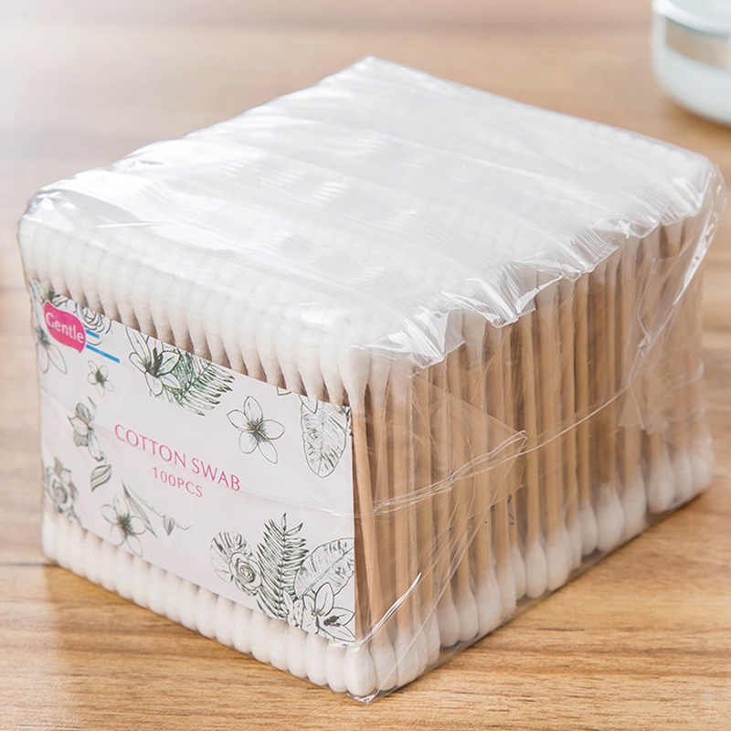 Natrual 500pcs Double Head Cotton Swab Women Makeup Cotton Buds Tip For Medical Wood Sticks Nose Ears Cleaning Health Care Tools