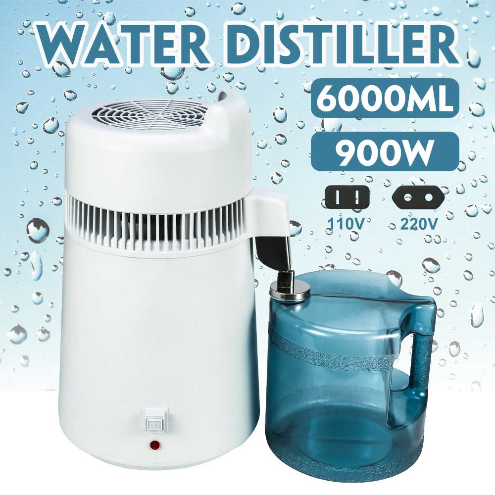900W/750W 6L/4L Pure Water Distiller Water Purifier Container Stainless Steel Water Filter Device Household Distilled Water