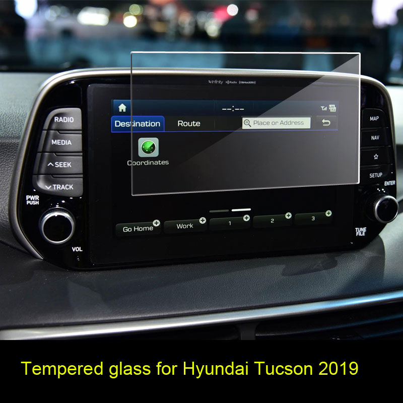 Car Navigtion Tempered Glass LCD Screen Protective Film Sticker Dashboard Guard For For Hyundai Tucson 2019
