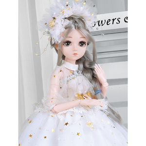 45CM 28 Movable Joints Emit Music Bjd Dolls Princess Dress Girl Toys 3D Eyes Clothes Shoes Accessories BJD Doll Toy For Girls