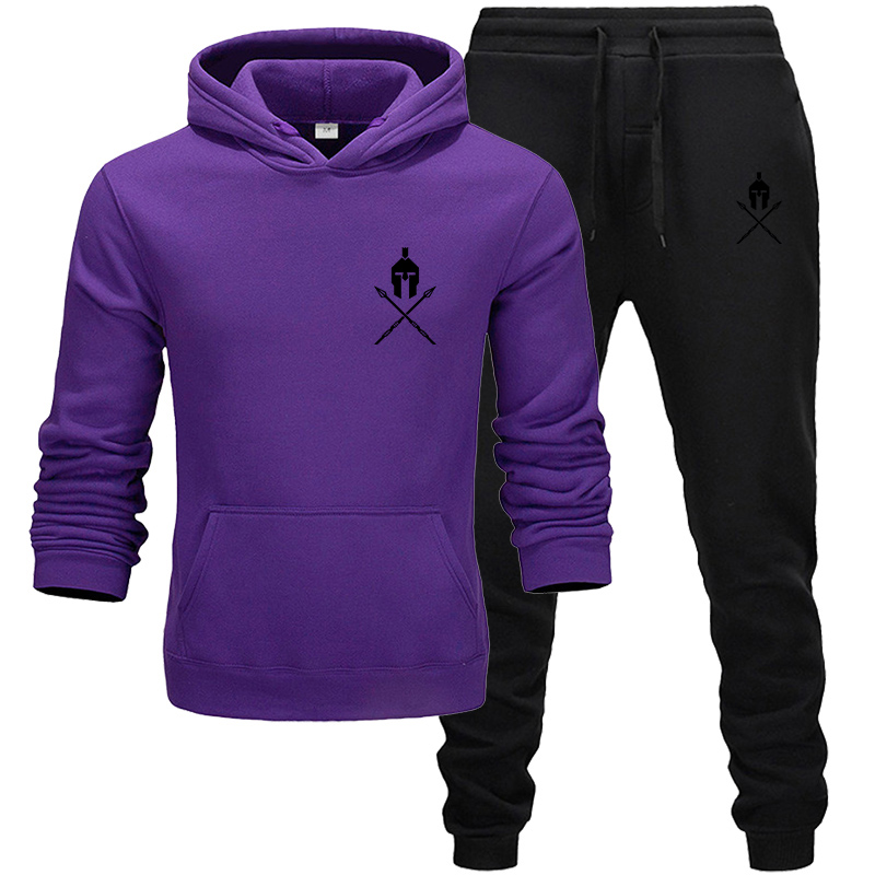 New 2019 Brand Tracksuit Mens Sportswear Sets Fleece Thick Hoodie+Pants Sport 2Pcs Printed Suit Malechandal Hombre