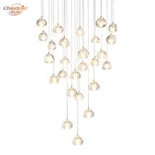Modern Crystal Chandelier LED Hanging Lighting Large Big Glass Globe Glass Chandeliers Luxury Stair Cristal Chandelier Lamp