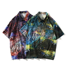 Men Shirt Short Sleeve 2021 New Arrival Summer Loose Male Shirt Thin Colorful Letter Graffiti Korean Style Hot Sale S46