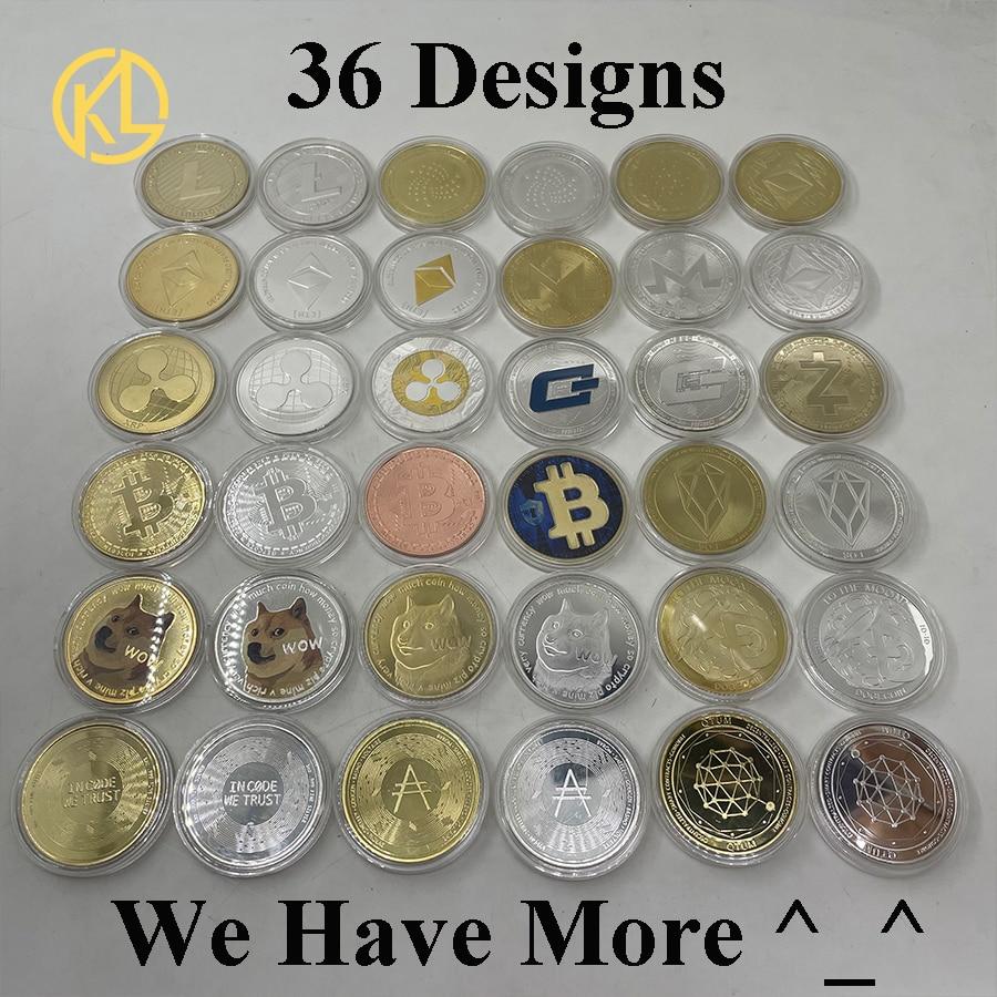 Bitcoin/Ethereum/Litecoin/Dash/Ripple/Monero/EOS Coin Metal Physical silver/Gold Ada Cardano Commemorative BTC Crypto Coin 1