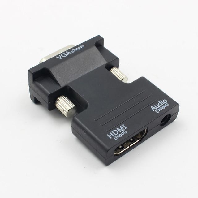 Hot HDMI Weiblichen Zu VGA Stecker Konverter Mit Audio Adapter Unterstützung 1080P Signal Ausgang Konverter + Audio Kabel L3FE