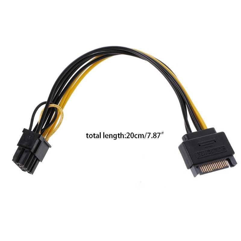 Single 15Pin SATA Male To 8Pin(6+2) PCI-E Male Video Card Power Supply Cable 20cm