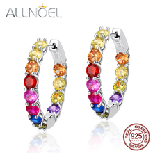 ALLNOEL 925 Sterling Silver Colored Zircon Earrings For Women Diamond Hoop Earrings Colored Zircon Real Gold Party Fine Lewelry