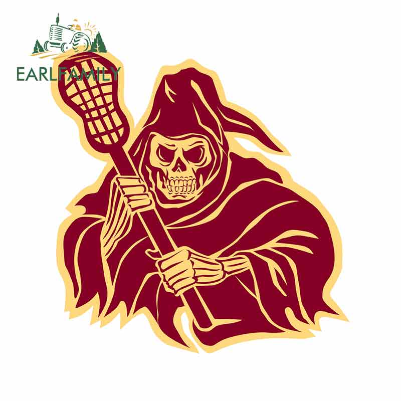 EARLFAMILY 13cm X 12.5cm For Grim Reaper Lacrosse Defense Pole Car Stickers Waterproof 3D DIY Decal Suitable For SUV Vehicle