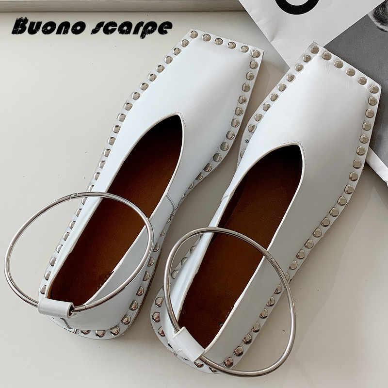 2020 primavera outono nova moda feminina sapatos de dedo do pé quadrado raso couro do metal anel rebite casual único sapatos planos apartamentos