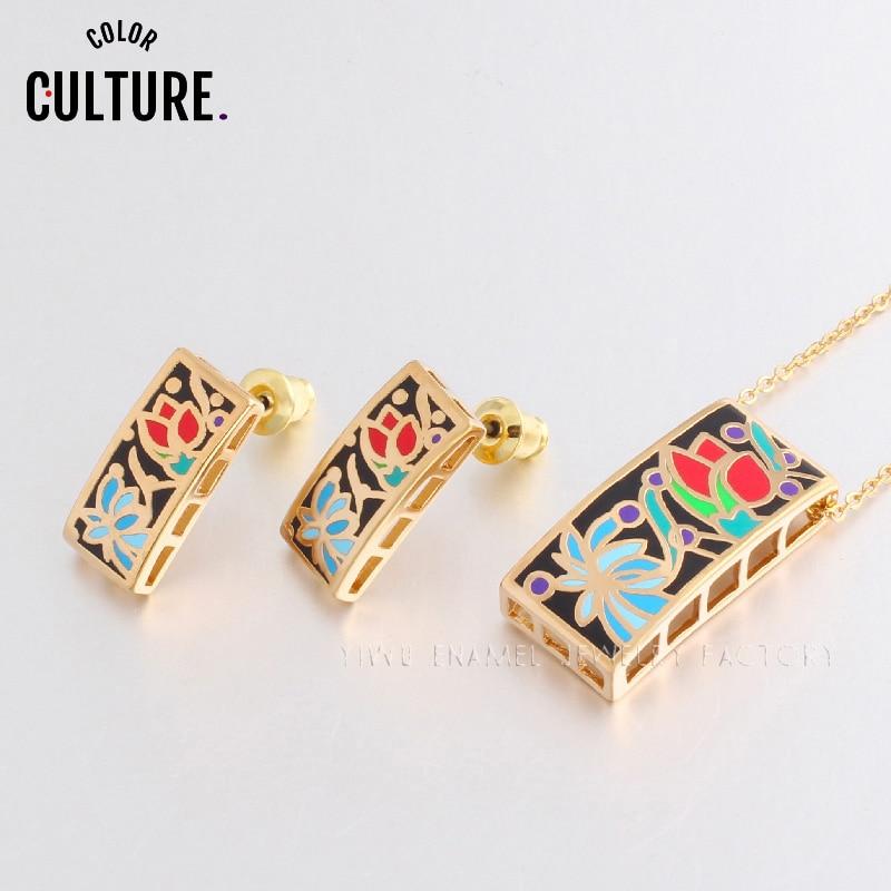 Vyplněné zlaté sady šperků pro ženy Květinový design tvaru - Bižuterie