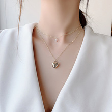 Minimalist Simple Metal Heart Choker Necklace Sweet Gold Color Double Layer Chain Pendant Necklaces for Women Jewelry Wholesale simple gold color 3d heart pendant choker necklaces for women new fashion trendy chain necklace collar jewelry gifts