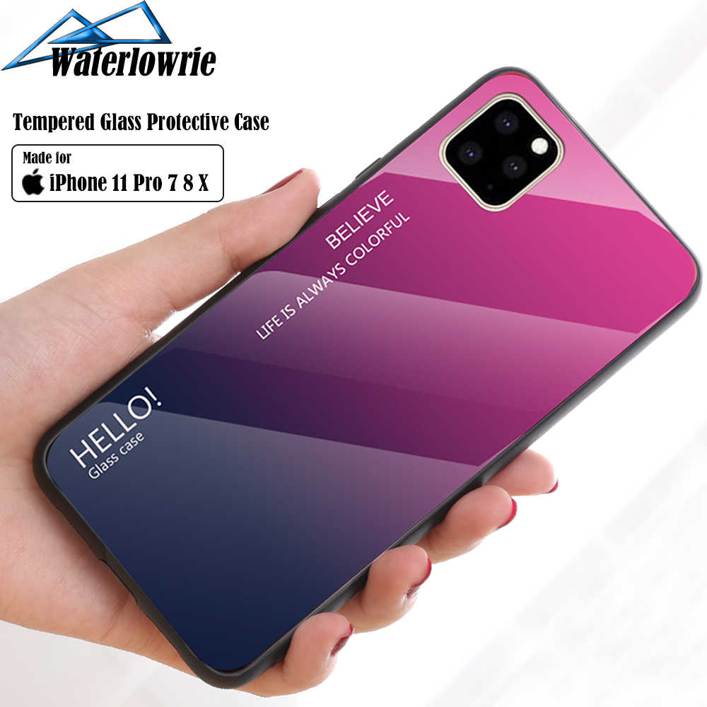 11 Pro Max 6 7 8 Plus X XS XR Luxury Phone Case For iPhone Gradient Tempered Glass Protective Case Hard Back Soft Silicone Cover