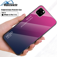 silicone case 11 Pro Max 6 7 8 Plus X XS XR Luxury Phone Case For iPhone Gradient Tempered Glass Protective Case Hard Back Soft Silicone Cover (1)
