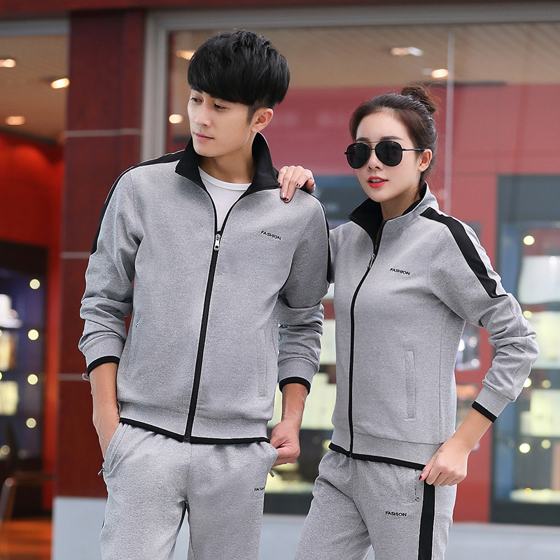 MEN'S Sport Suit Spring And Autumn Women's Long-Sleeve Outdoor Running Sports Clothing Couples Athletic Clothing Two-Piece Set C