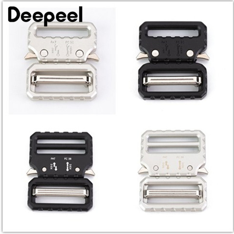 Deepeel 1pc 26/39mm Zinc Alloy Outdoor Tactical Belt Buckle Head Sliver Black Release Buckle For Webbing Strap DIY Accessory