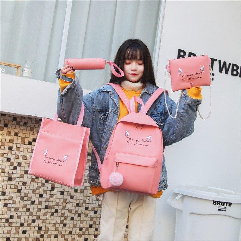 Fashion Female Backpack 4 Pcs/set Casual Rucksack Women School Backpacks Schoolbags School For Girl Teenagers Canvas Backpack