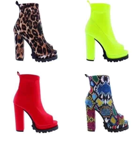 Automne/Winte couleur vive bottes femmes 2019 fermeture éclair motif serpent imperméable plate-forme à talons hauts semelle épaisse bout ouvert bottes basses