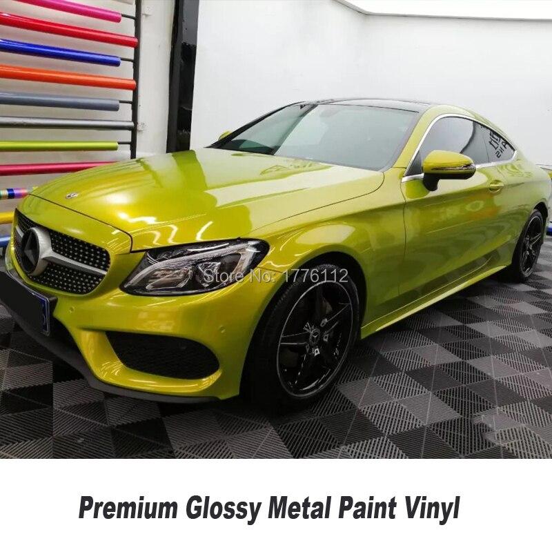 Le plus nouveau film d'emballage métallique brillant de papier d'emballage de véhicule jaune de citron pour la meilleure matière première de film d'emballage de vinyle de voiture à extrémité élevé